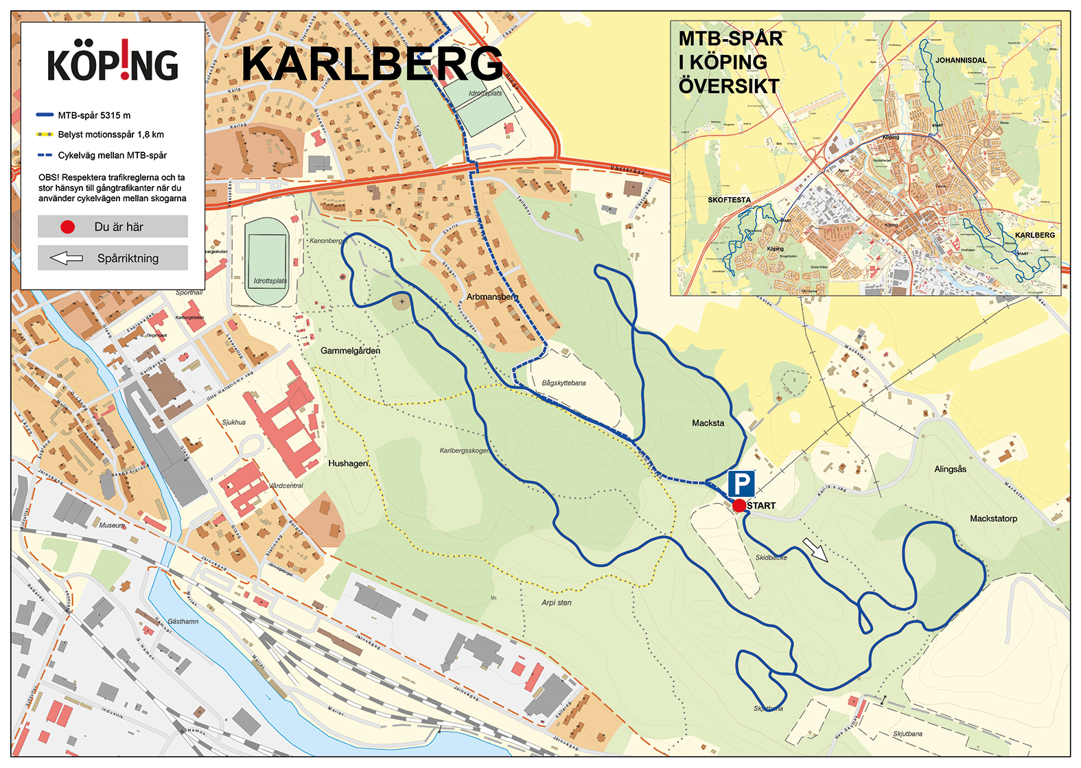 Mountainbikespår i Karlbergsskogen
